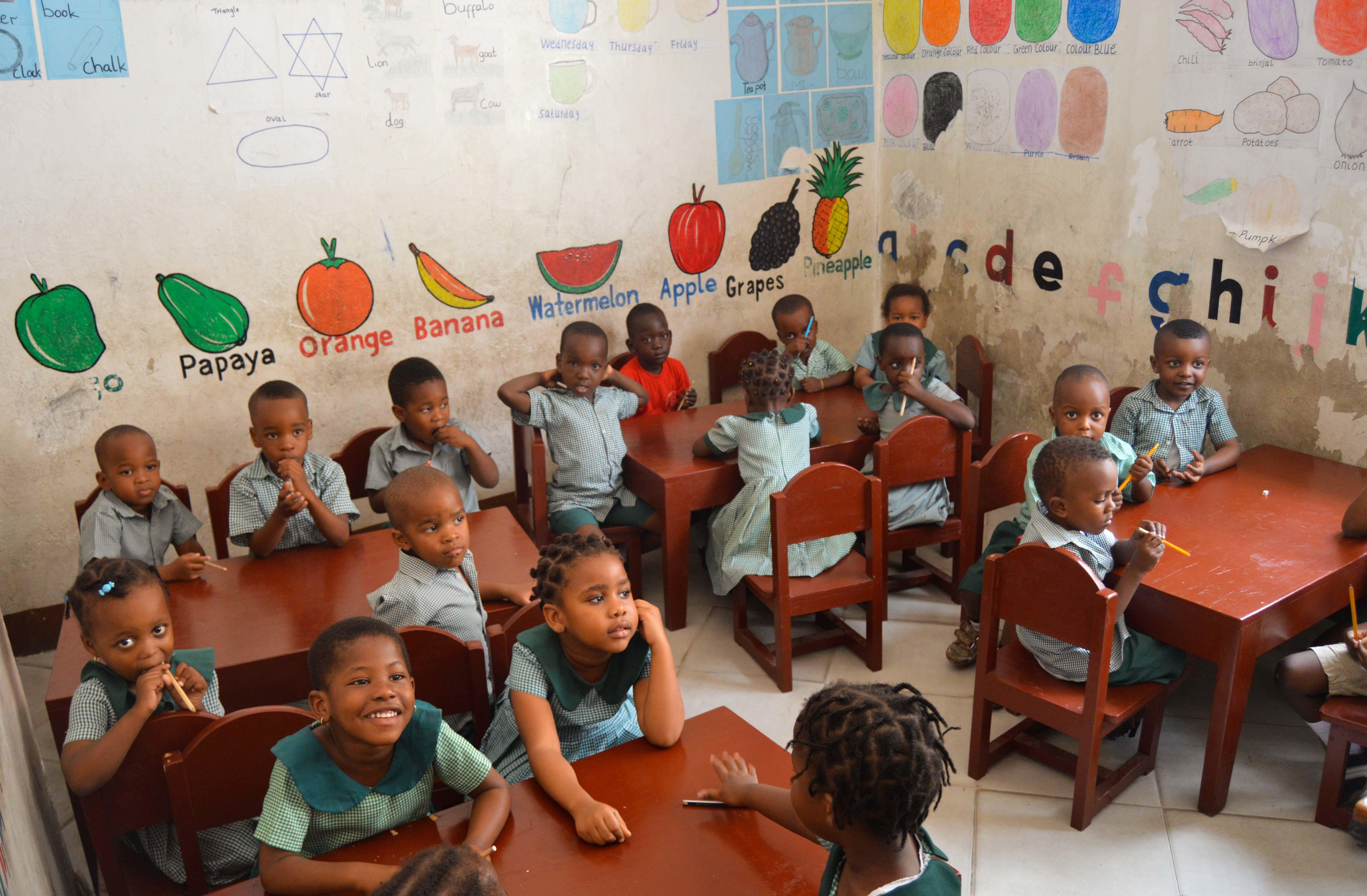A classroom filled with young students at our volunteer teaching placements in Tanzania